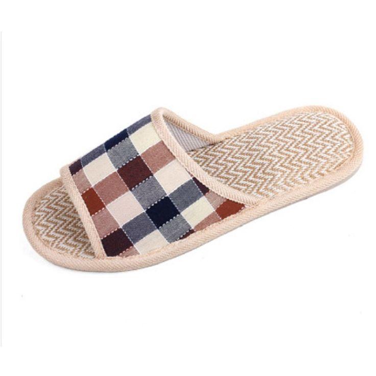 Hot Sale Lover Women Men Home Slippers Plaid Linen Home Slippers Indoor Bedroom Sandals Couple Floor Slippers
