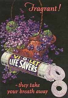 vintage Life Savers Vi-O-let ad from 1921. I would so love to try this flavor!