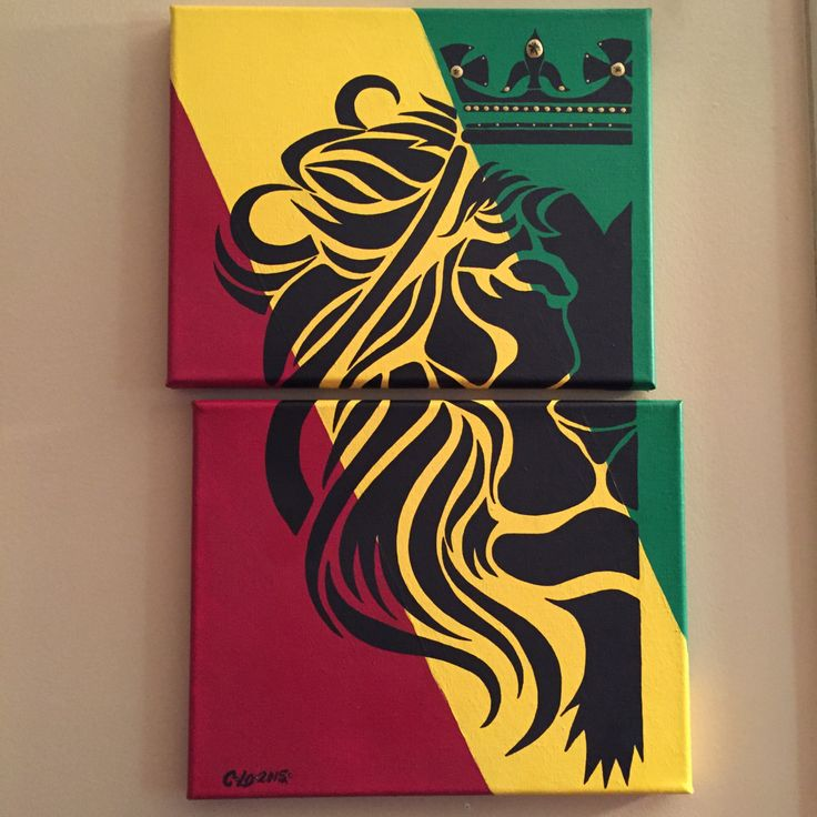Lion of Judah/2 piece painting/canvas/tribal/acrylic/Jamaican colors/Rastafarian by CLoTheArtist on Etsy