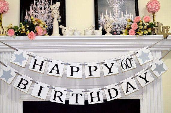 Happy Birthday 60th Birthday banner, Happy Birthday Banner, Party Decorations/Unisex Birthday Decor 30th, 40th, 50th, 70th, 80, 90th
