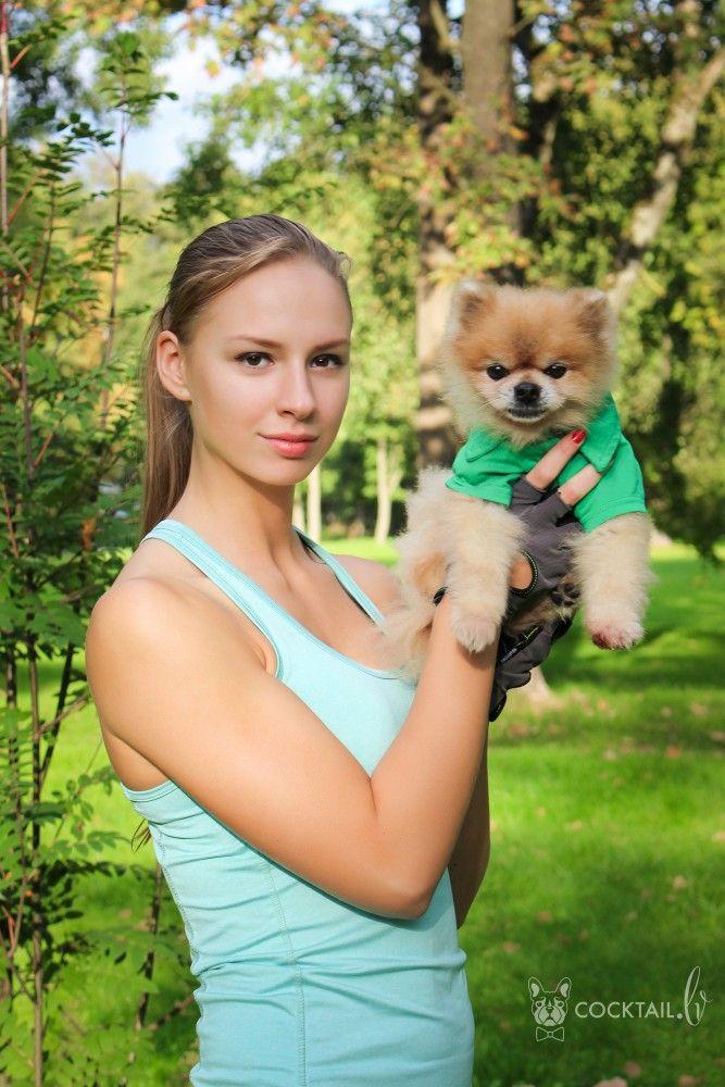 Участница проекта Fitness Model Latvia 2016 Каролина Бейнарович и померанский шпиц Джонни :: Коктейль новостей из мира зверей