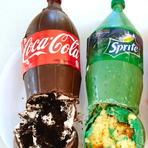 Pop (Coke) bottle cakes  - Just cake mix and one can of soda molded to look like real pop bottles! Sprite cake, Orange Fanta Cake, Coke cake.