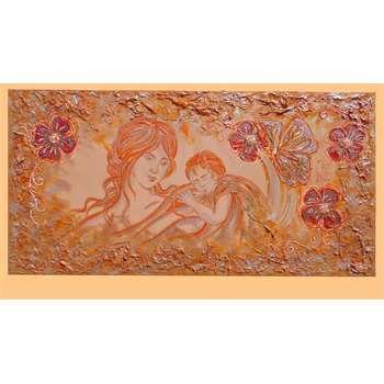"""Quadri per camera da letto. """"Maternità e fiori arancio"""" Maternità monocromatica dai toni caldi. L'arancio come colore predominante, rende il quadro per camera da letto molto accogliente e rasserenante. Semplice nell'impostazione figurativa ma di effetto nelle parti caratteristicamente decorative."""