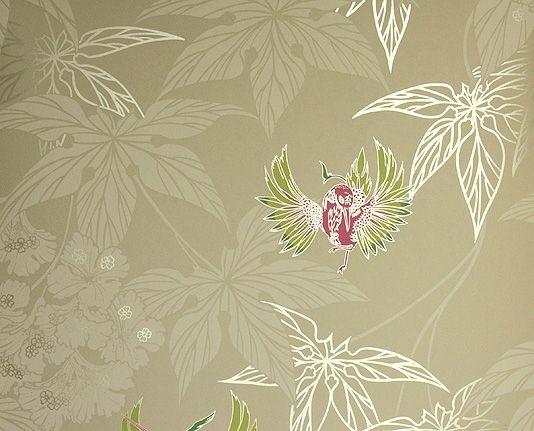 Grove Garden Wallpaper Pale coffee coloured wallpaper with silvery leaf design and colourful hummingbirds dancing between the leaves