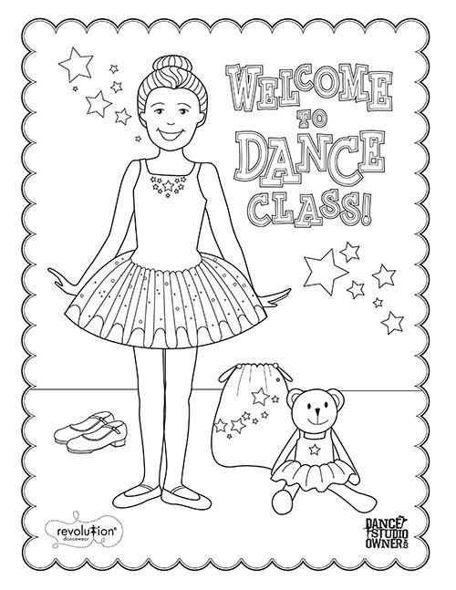 free printable dance class coloring pages for kids and teachers