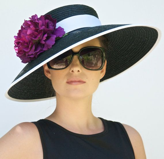 Black Wide Brim Hat. Audrey Hepburn Hat. Kentucky Derby Hat. Formal Hat. Church Hat, Wedding Hat, Ascot Hat, Flower Hat