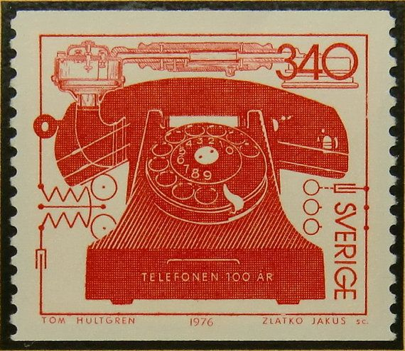 2560W - Framed Postage Stamp Art - Telefonen 100 AR - Telephone 100 years - Sweden - Communications (etsy)