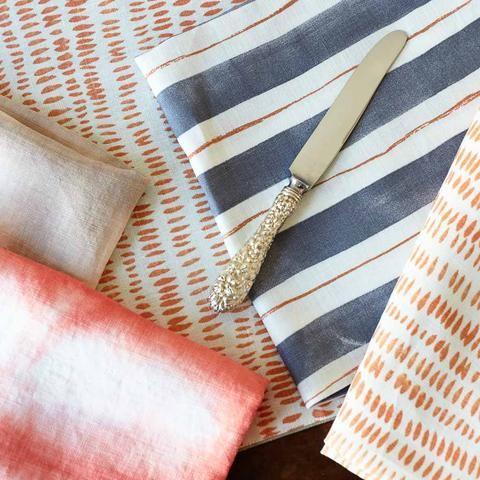 Painted Stripe Napkins in Tangerine & Gray