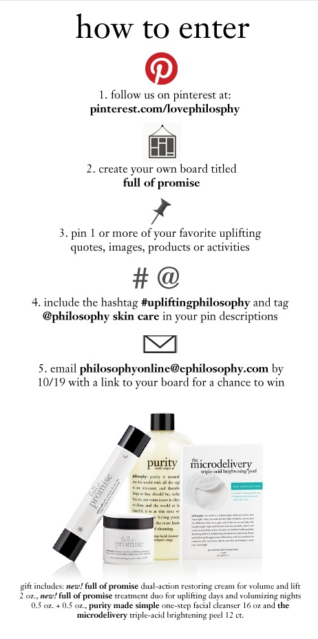 full of promise pinterest contest upliftingphilosophy @philosophy skin care