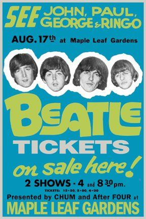 Poster Advertising The Beatles Concert At Maple Leaf Gardens Toronto Aug. 17 1965