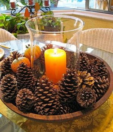 This look can go from Thanksgiving - simple like this - to Christmas - add glass ornaments, snowflakes, gilded fruit - to winter decor - a l...