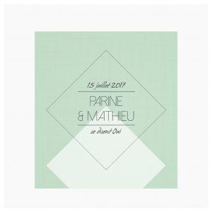 Faire-part Mariage - Dessine-moi une etoile - Diamond Green Geometrique - Moderne