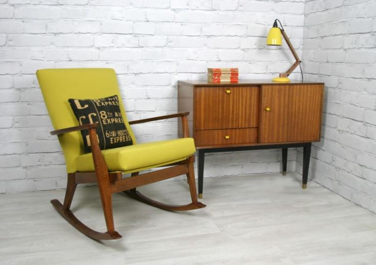 Vintage 1960s restored Parker Knoll rocking chair & 1950s cabinet.  #nursery #heartones #rockingchairs