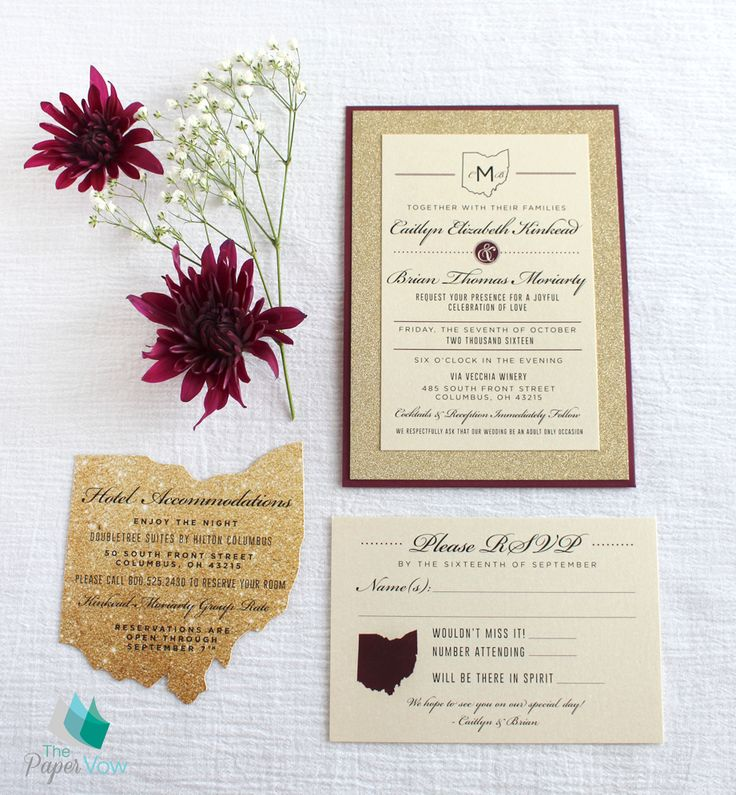 Gold And Burgundy Wedding Invitation With A Touch Of State Of Ohio Pride!  Ohio Cutout