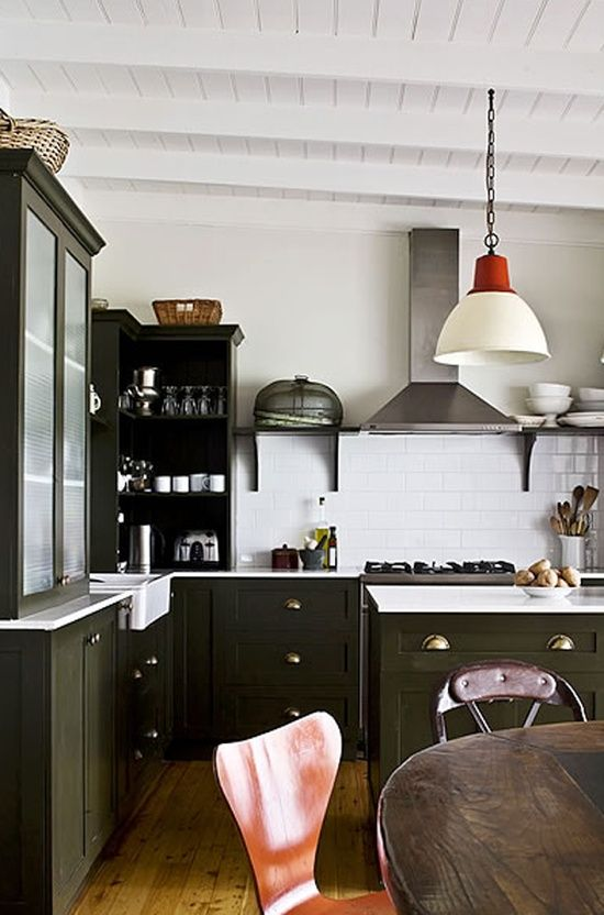 brass_kitchen_hardware, like the dark green cabinets and white