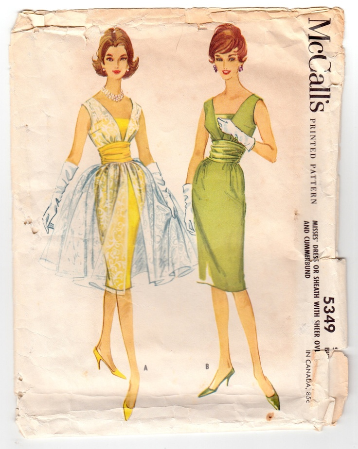 Vintage Sewing Pattern Ladies Cocktail Dress Sheath and Overdress McCall's 5349