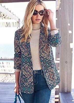 Paisley Print Girlfriend Jacket #kaleidoscope #summer #fashion