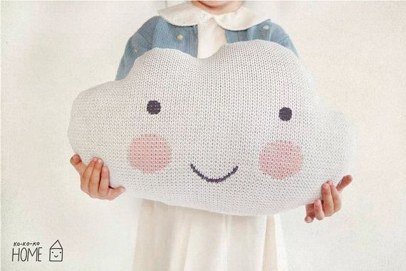 Knit Cloud Pillow : WHITE by kokokoshop on Etsy