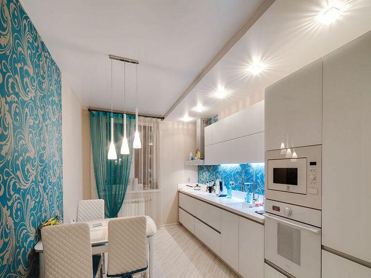 Сатиновый натяжной потолок в кухню 7,5 кв.м