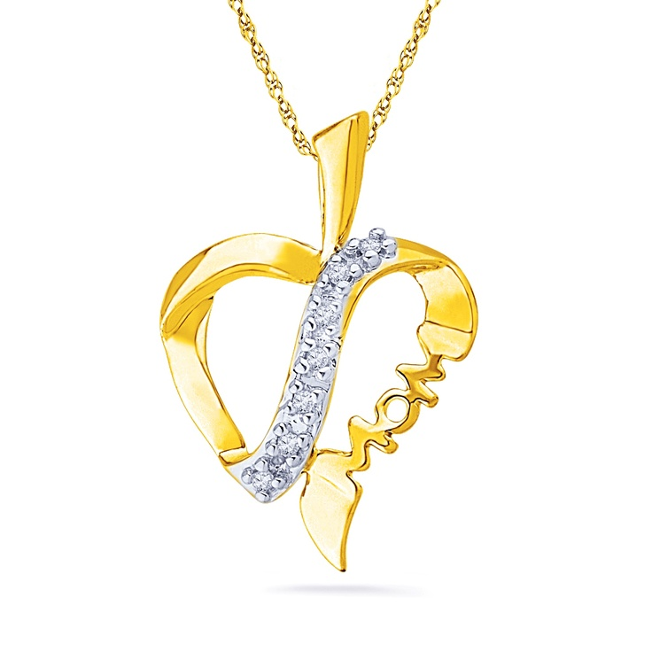 JPEARLS LOVELY –MOM DIAMOND PENDANT : I LOVE YOU MOM. YOU ARE THE WORLD'S BEST MOM. I WILL NEVER FORGET YOUR LOVE. HAPPY MOTHER'S PRODUCT FEATURES:  GOLD WEIGHT : 1.79 GRAMS GOLD PURITY : 18 KT  DIAMONDS WEIGHT : 0.050 CT(APX)  DIAMOND COLOR : GH DIAMOND CLARITY : I DIAMOND SHAPE: SINGLE – CUT ROUND NUMBER OF DIAMONDS : 7 BRAND : SRI JAGDAMBA PEARLS OUR PRICE: $187.16