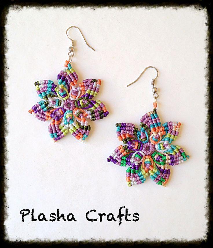 "Macrame Earrings - Aretes ""Mandala"" de Plasha Crafts"