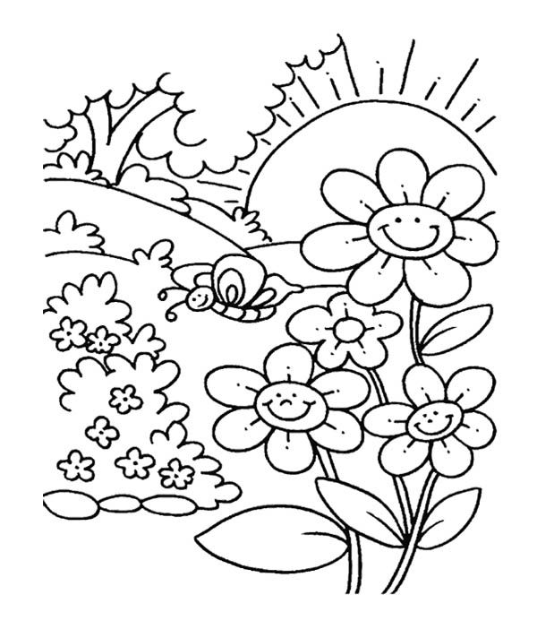 Spring flower in garden coloring pages for kids kids for Flower garden coloring pages printable
