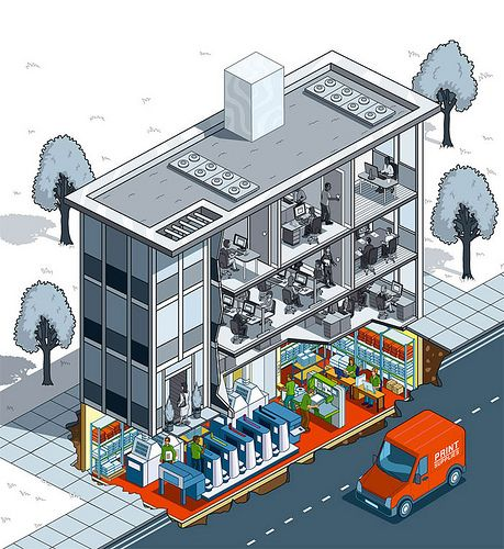 Printing World Magazine Cover - print house isometric illustration by Rod Hunt Illustration, via Flickr