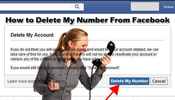 how to delete my number from facebook