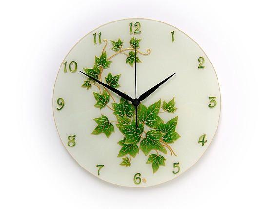 Ivy Leaf Contemporary Wall Clock Green Leaf Decor White