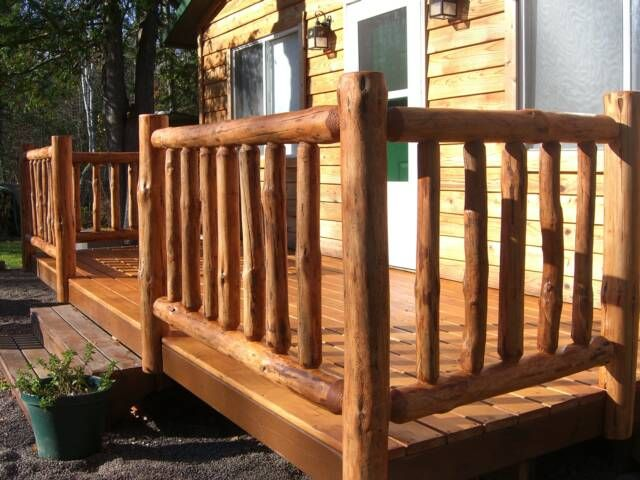 Log home deck railing ideas take it from us if you don for Log cabin porches and decks