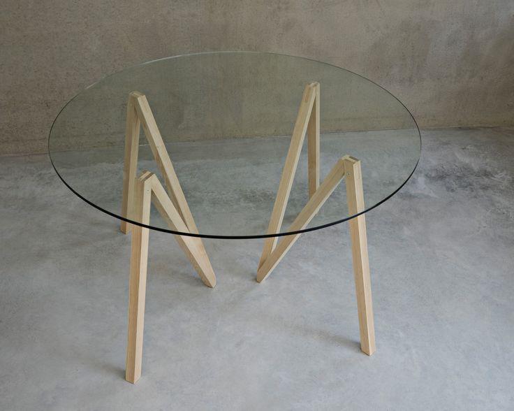 Round Accordion table with a glass tabletop. #mwa #makerswithagendas #mwadesign #agendadrivendesign #mwagram #nomadicliving #minimallogistics