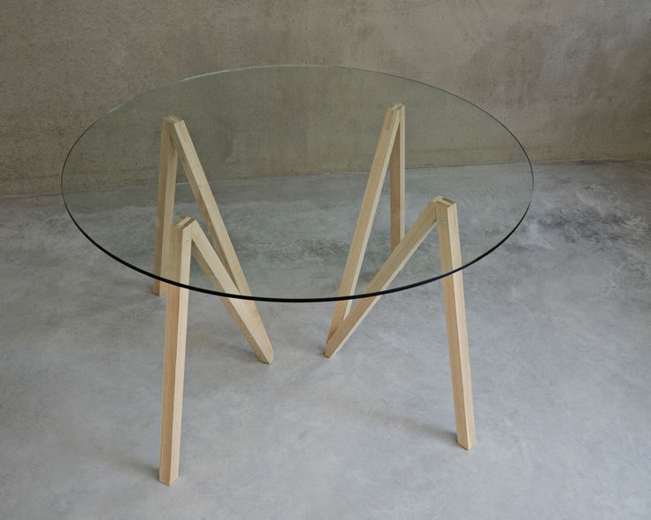 Round Accordion table with a glass tabletop. #mwa #makerswithagendas #mwadesign #agendadrivendesign #mwagram #nomadicliving #minimallogistics