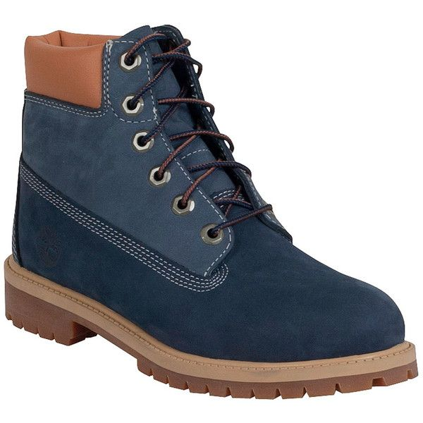 Timberland Women's Premium 6-Inch Navy Limited Edition Boot ($130) ❤ liked on Polyvore featuring shoes, boots, blue, water proof boots, lined boots, navy blue shoes, timberland boots and waterproof shoes