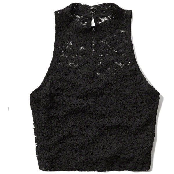 Abercrombie & Fitch Lace Mock Neck Crop Tank (39 AUD) ❤ liked on Polyvore featuring tops, shirts, crop tops, black, lace top, crop top, lace tank, black lace shirt and black tank top