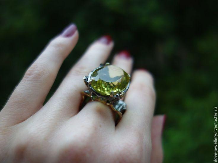 """Купить """"Magni""""- гипнотизирующий серебряный перстень с лимонным цитрином - лимонный, лимонный кварц"""