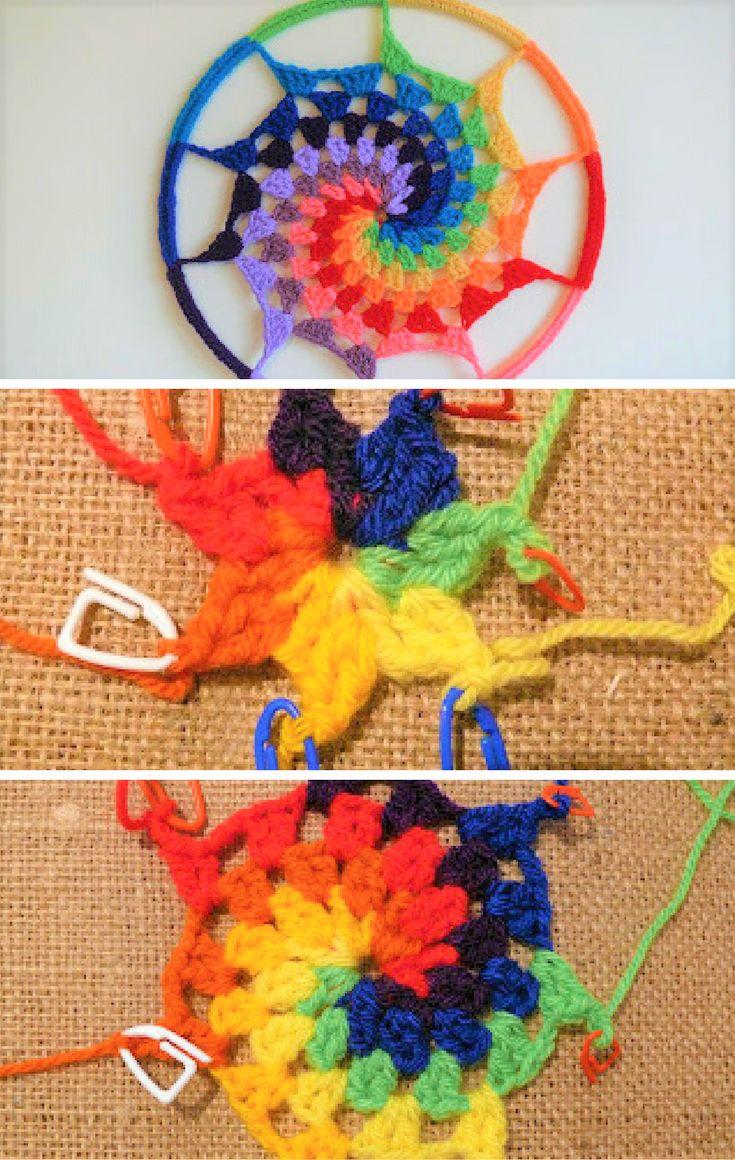 How to Crochet a Rainbow, Spiral Dream Catcher. Part 1