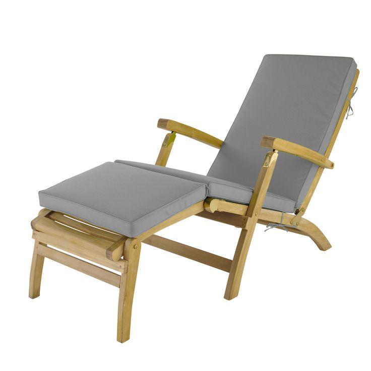 Grey chaise longue mattress L 185 cm Oléron