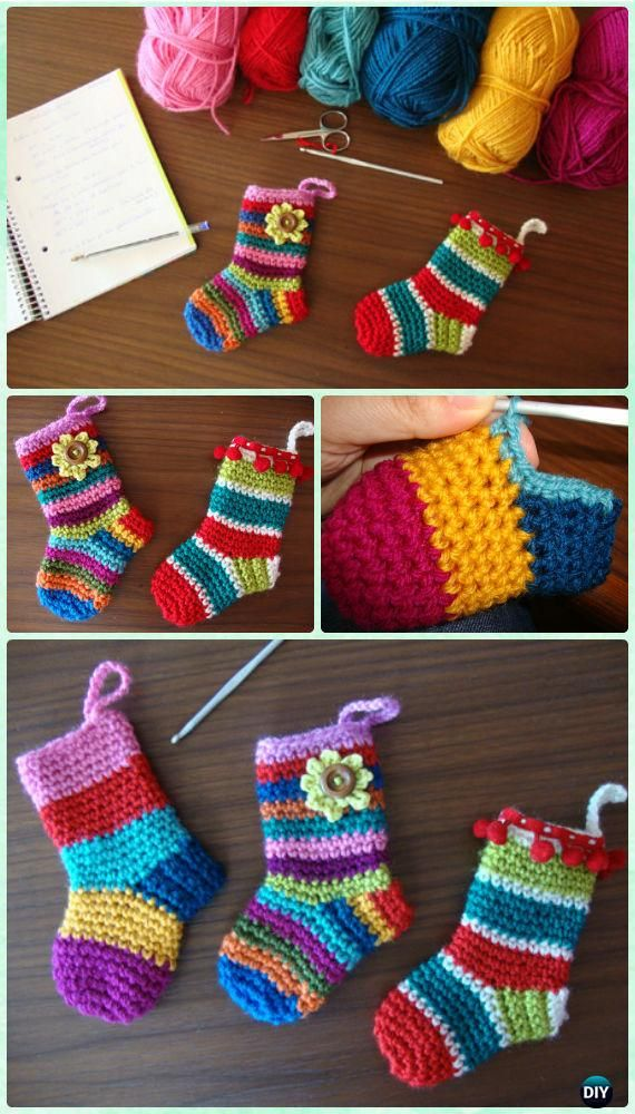 DIY Crochet Christmas Socks Ornament Free Pattern - #Crochet Christmas #Ornament Free Patterns