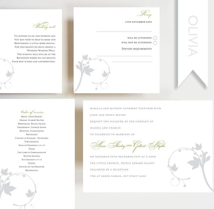 Olivia Invitation, Order Of Service, RSVP Card, Wishing Well, Wedding,  Engagement