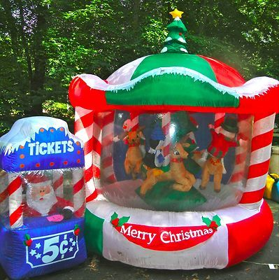 12ft lit rotating animated christmas carousel airblown for Large outdoor christmas decorations for sale