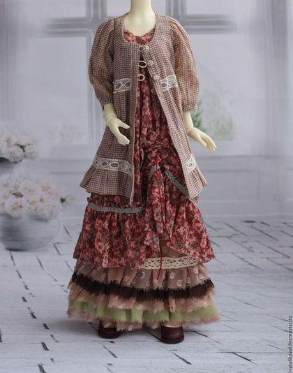 Одежда для кукол ручной работы. Ярмарка Мастеров - ручная работа. Купить Комплект в стиле бохо. Handmade. Бледно-розовый, бжд