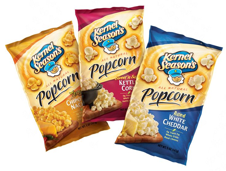 Designed packaging for Kernel Season's new line of bagged popcorn to complement their already successful seasonings.