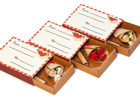 """Anniversary Love Birthday Card Matchbox Bouquet of Roses miniature / Gift box/ """"From To"""" envelope"""