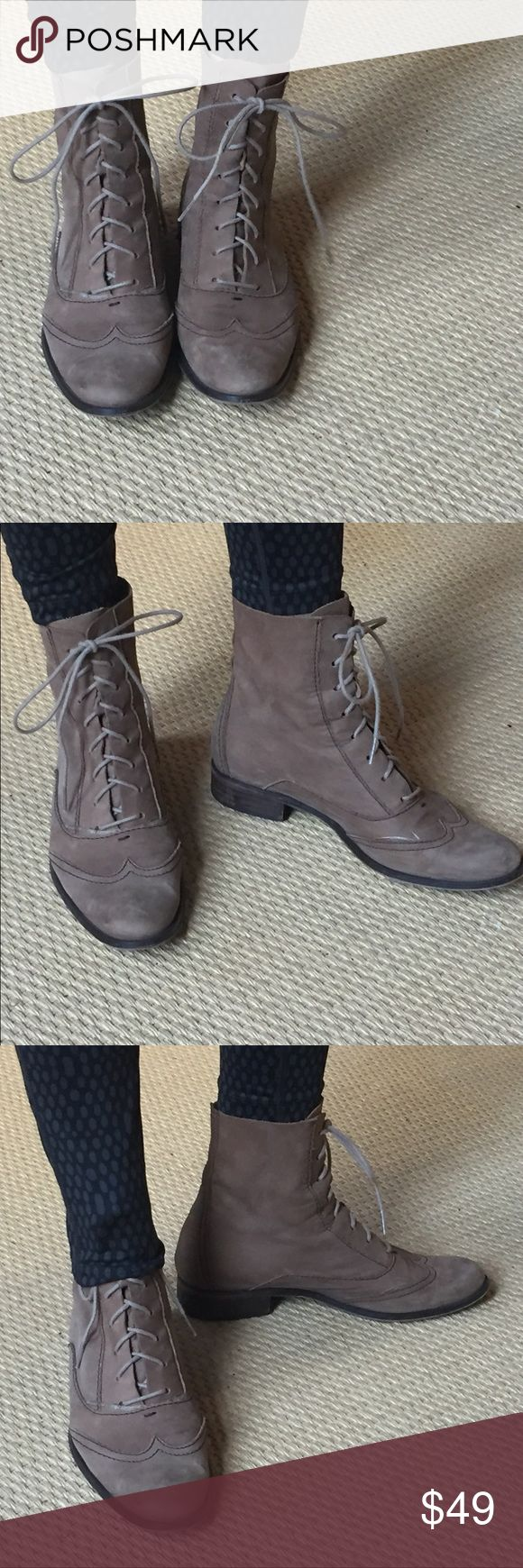 ZARA Hipster Victorian Lace-Up Boot   Beautiful Taupe color - BUTTERY soft lamb skin leather, taupe, unlined. Worn a little bit but they get better with age - something you'll keep for years! Great with jeans, or funky with tights  PLEASE NOTE - these are a 39, but I wear an 8.5 and these fit great. Thanks! Zara Shoes Lace Up Boots
