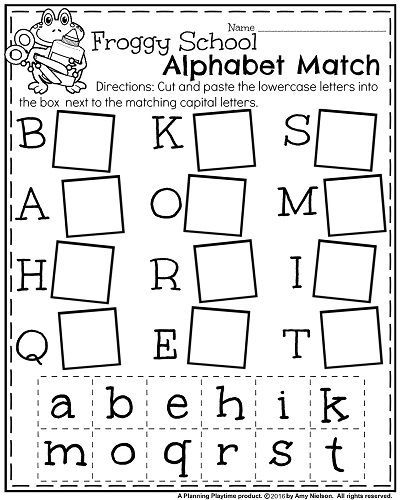 Back to School Kindergarten Worksheets - Froggy School Alphabet Match
