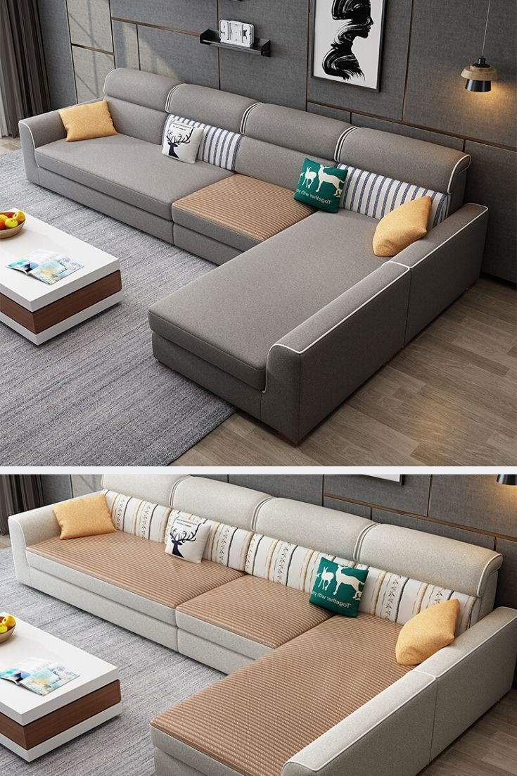 L Shape Big Living Room Sofa Couch In 2020 Fabric Sofa Design Living Room Sofa Design Sofa Bed Design