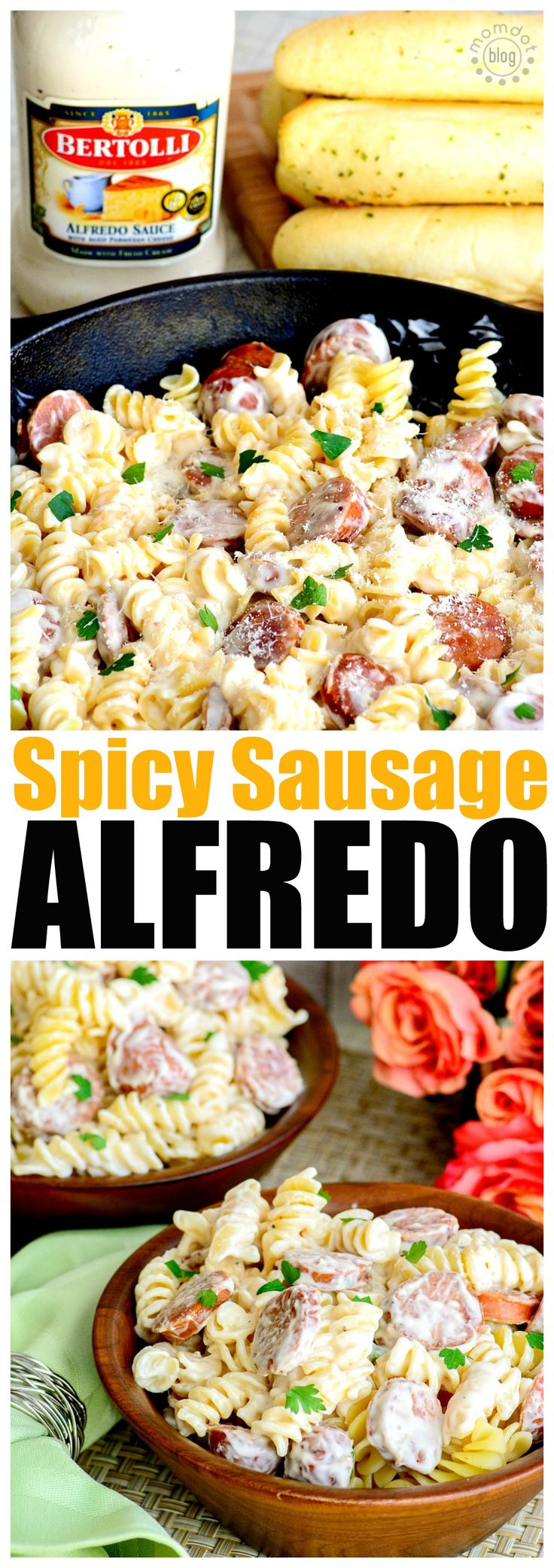 Spicy sausage alfredo recipe perfect for pasta for two with this easy to follow recipe and inexpensive to create. Enjoy Valentines dinner for two from the comfort of your own home
