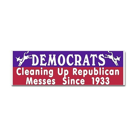 Liberal bumper stickers cleaning up republican messes