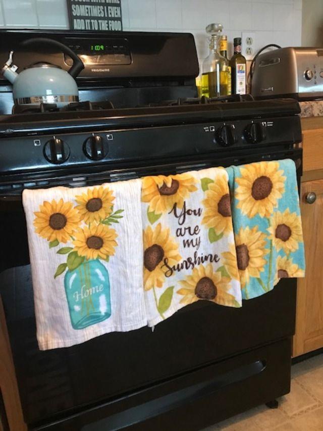 Ritz Sunflower Kitchen Towels Sunflower Kitchen Decor Teal Kitchen Decor Sunflower Kitchen