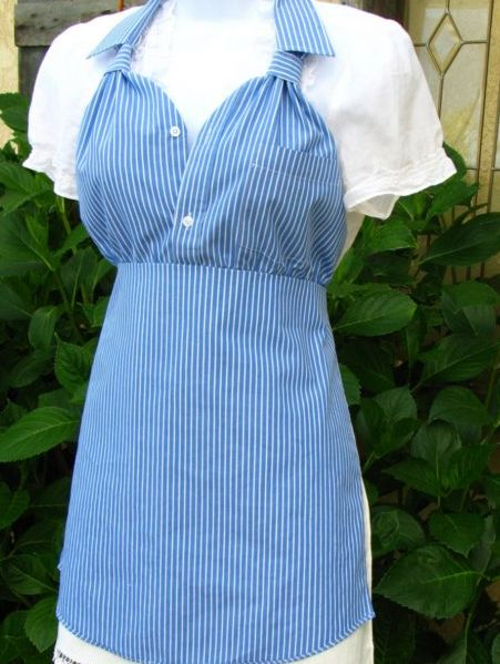 Dress shirt made into an apron.